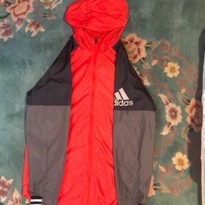 Adidas red/black/grey windbreaker
